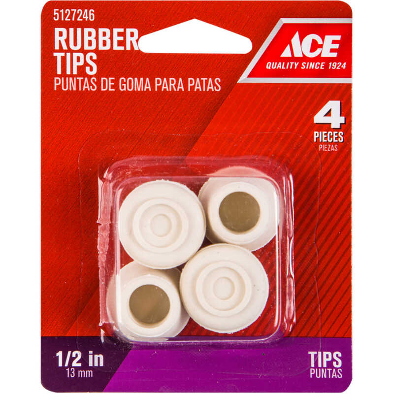 Ace  Rubber  Leg Tip  Round  1/2 in. W 4 pk Off-White