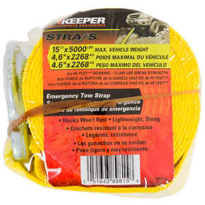 Keeper  2 in. W x 15 ft. L Yellow  Tow Strap  5000 lb. 1 pk