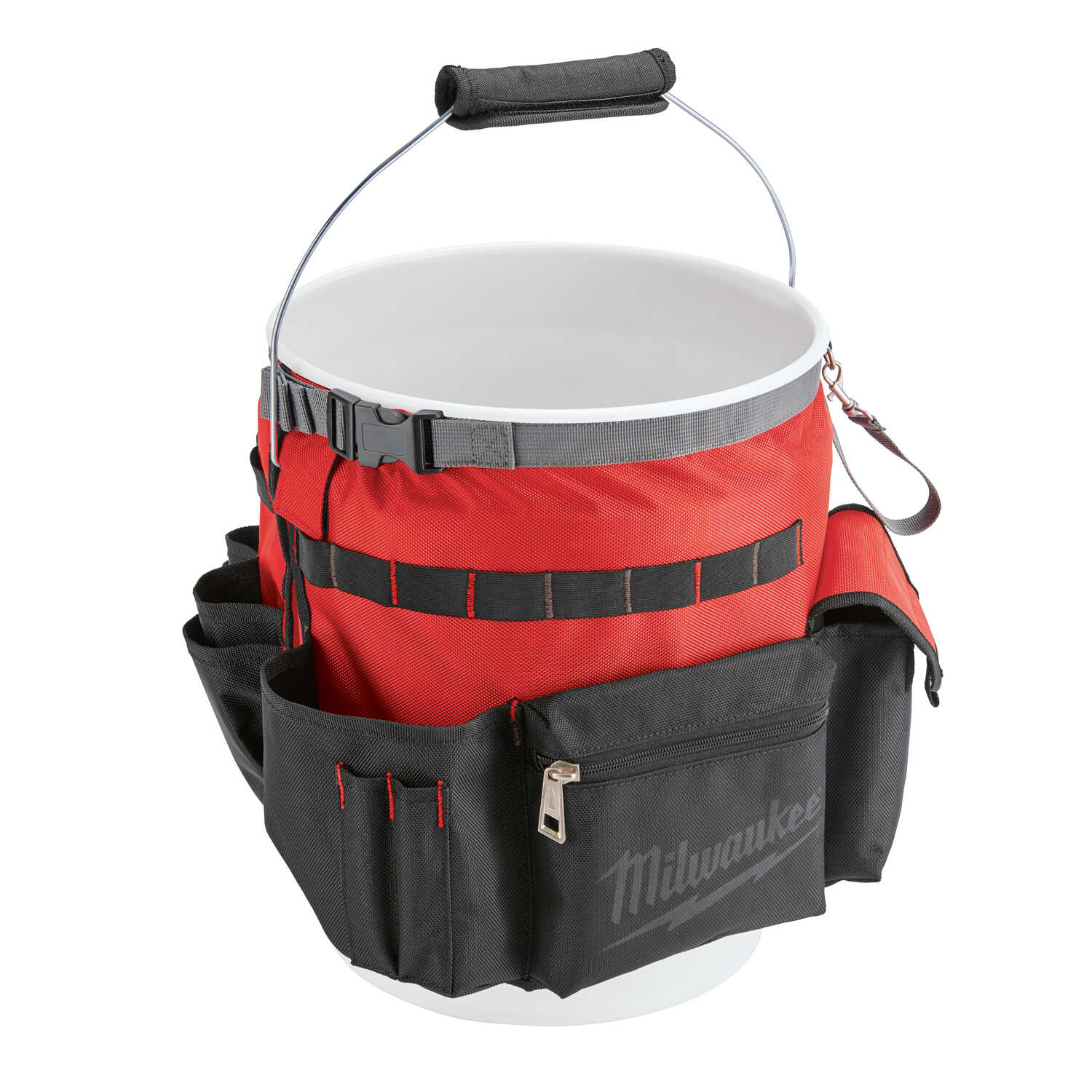 Milwaukee  2.17 in. W x 13.39 in. H Ballistic Nylon  Bucket Organizer  32 pocket Black/Red  1 pc.