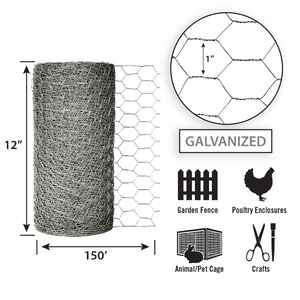 Garden Zone  12 in. H x 150 ft. L 20 Ga. Silver  Poultry Netting