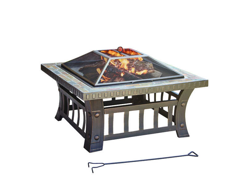 Living Accents  Square  Wood  Fire Pit  20 in. H x 30 in. W x 30 in. D Steel