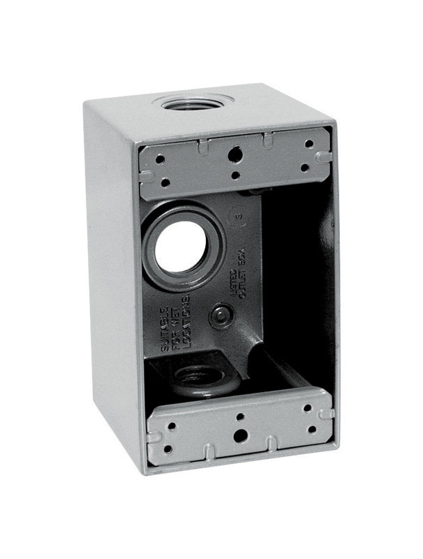 Sigma  4-1/2 in. Rectangle  Aluminum  1 Gang  Outlet Box  Gray