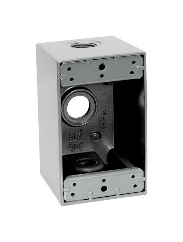 Sigma  4-1/2 in. 1 Gang  1 gang Rectangle  Gray  Aluminum  Outlet Box