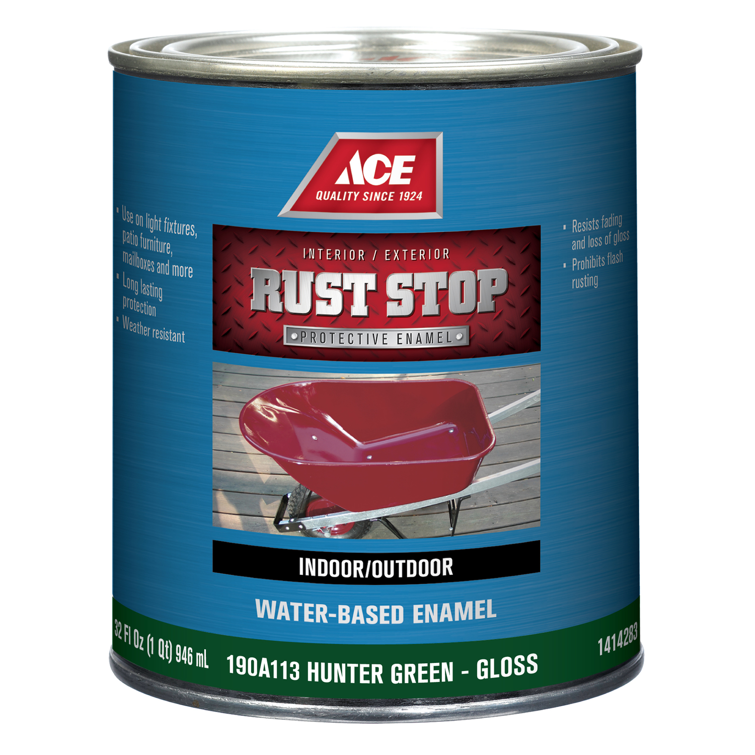 Ace  Rust Stop  Interior/Exterior  Indoor and Outdoor  Hunter Green  Rust Prevention Paint  1 qt. Gl