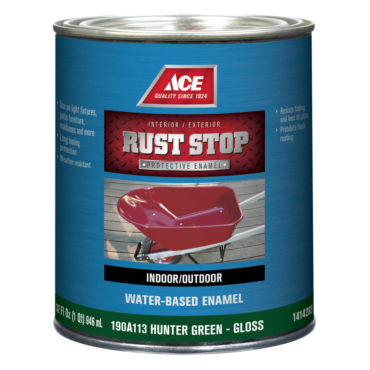 Ace  Rust Stop  Interior/Exterior  Gloss  Hunter Green  Indoor and Outdoor  Rust Prevention Paint  1