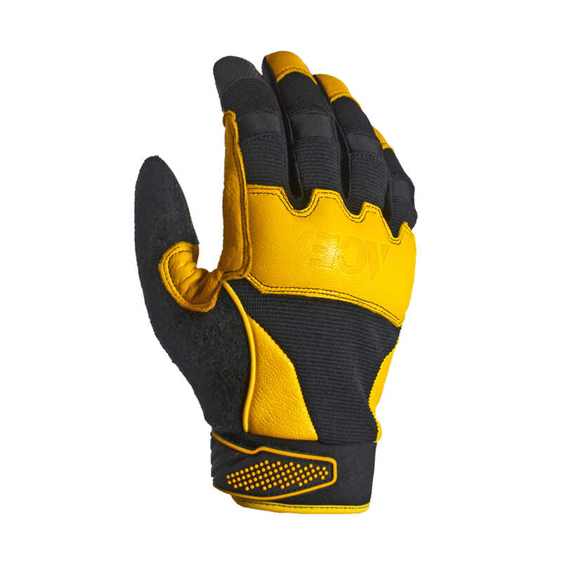 Ace  Men's  Indoor/Outdoor  Goatskin Leather  Work Gloves  Black/Yellow  L