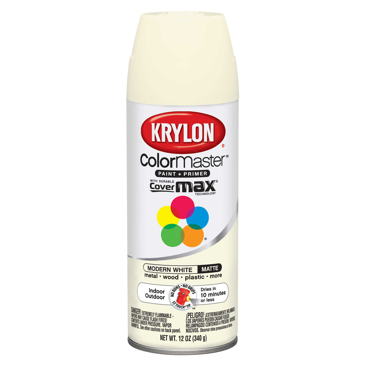 Krylon  ColorMaster  Matte  Modern White  Spray Paint  12 oz.