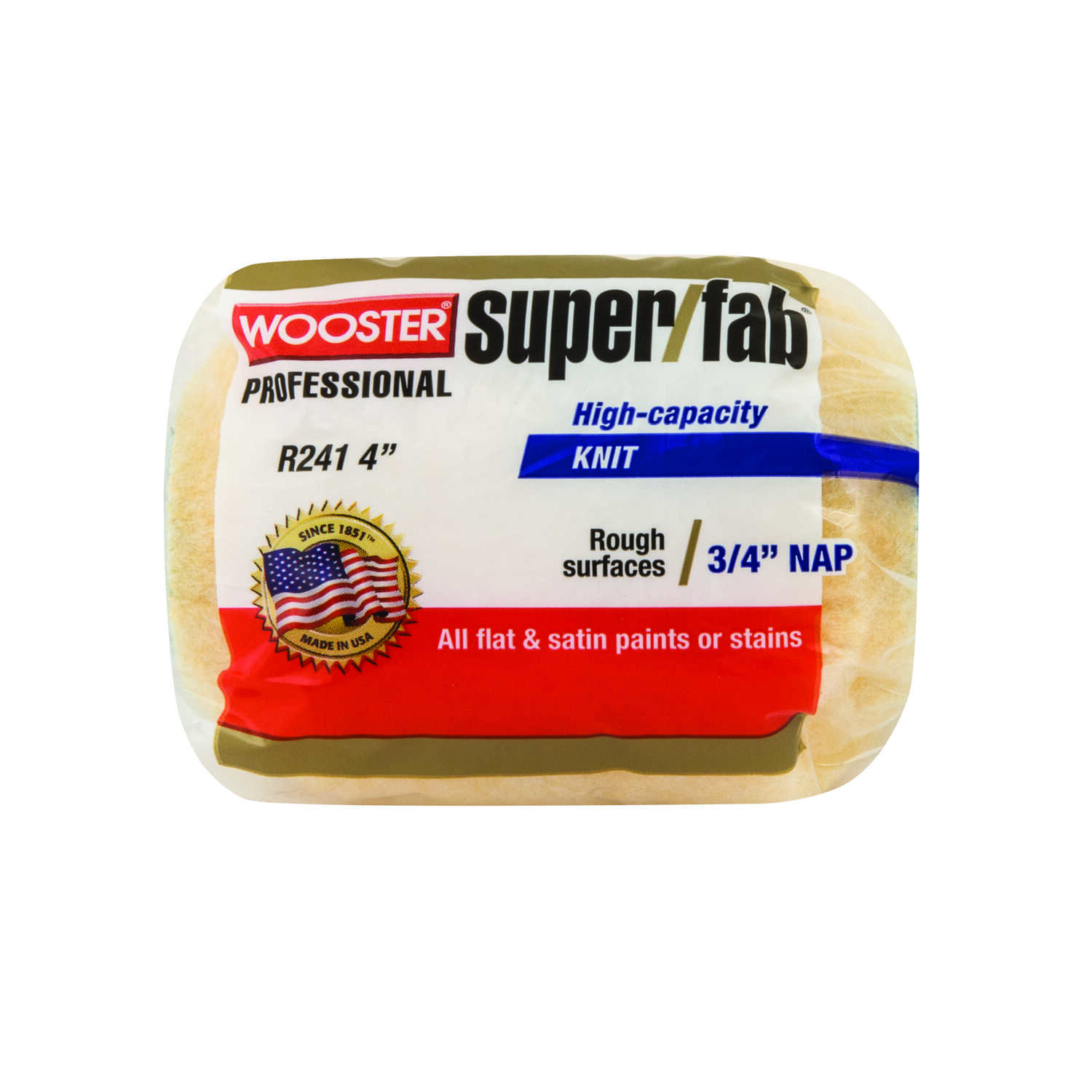 Wooster  Super/Fab  Fabric  3/4 in.  x 4 in. W Regular  Paint Roller Cover  1 pk