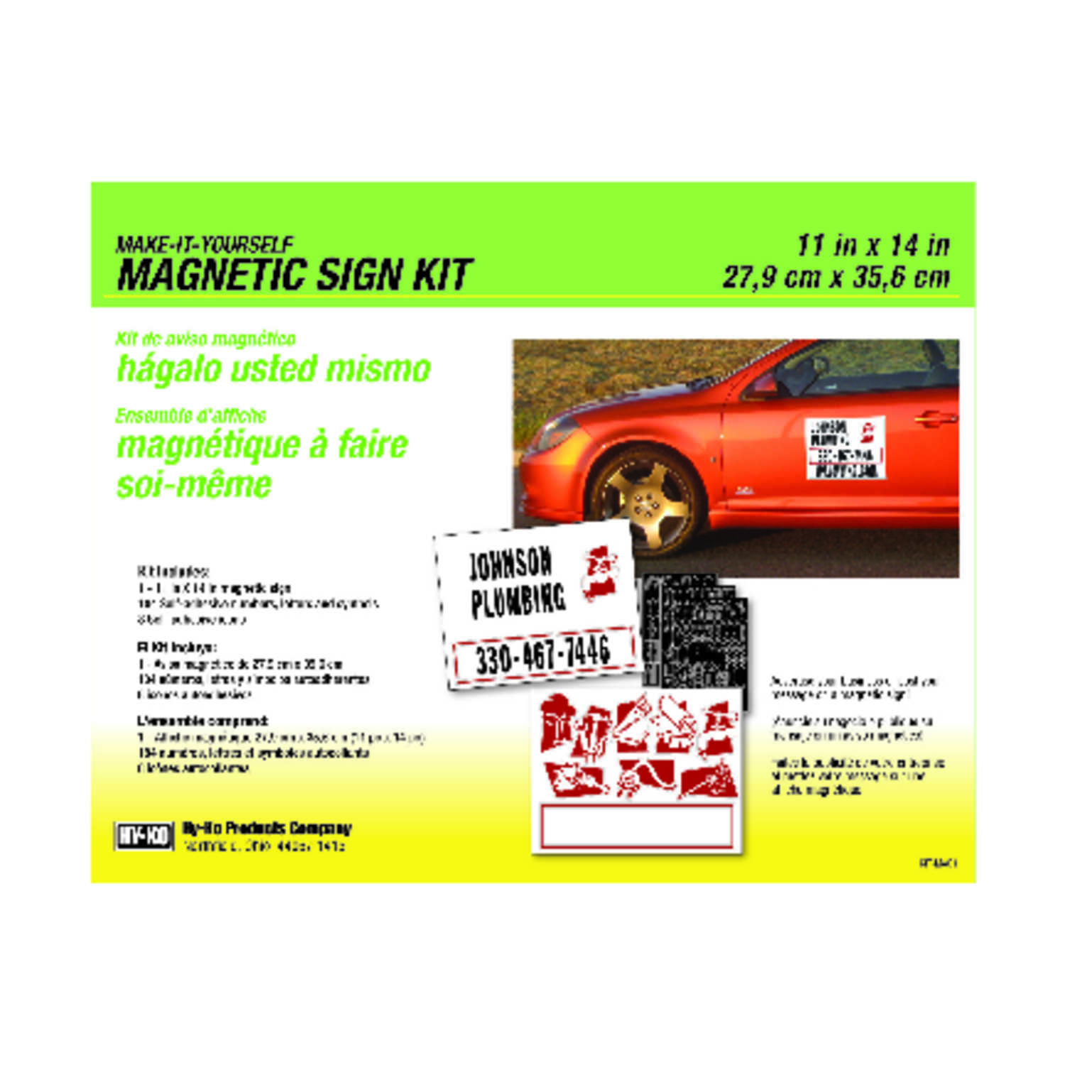 Hy-Ko  English  Blank  Magnetic Sign Kit  Plastic  11 in. H x 14 in. W