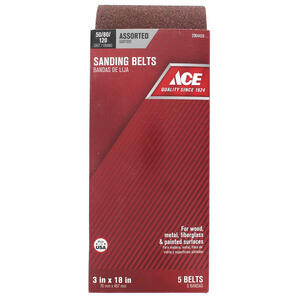 Ace  18 in. L x 3 in. W Aluminum Oxide  Sanding Belt  Assorted  5 pc.