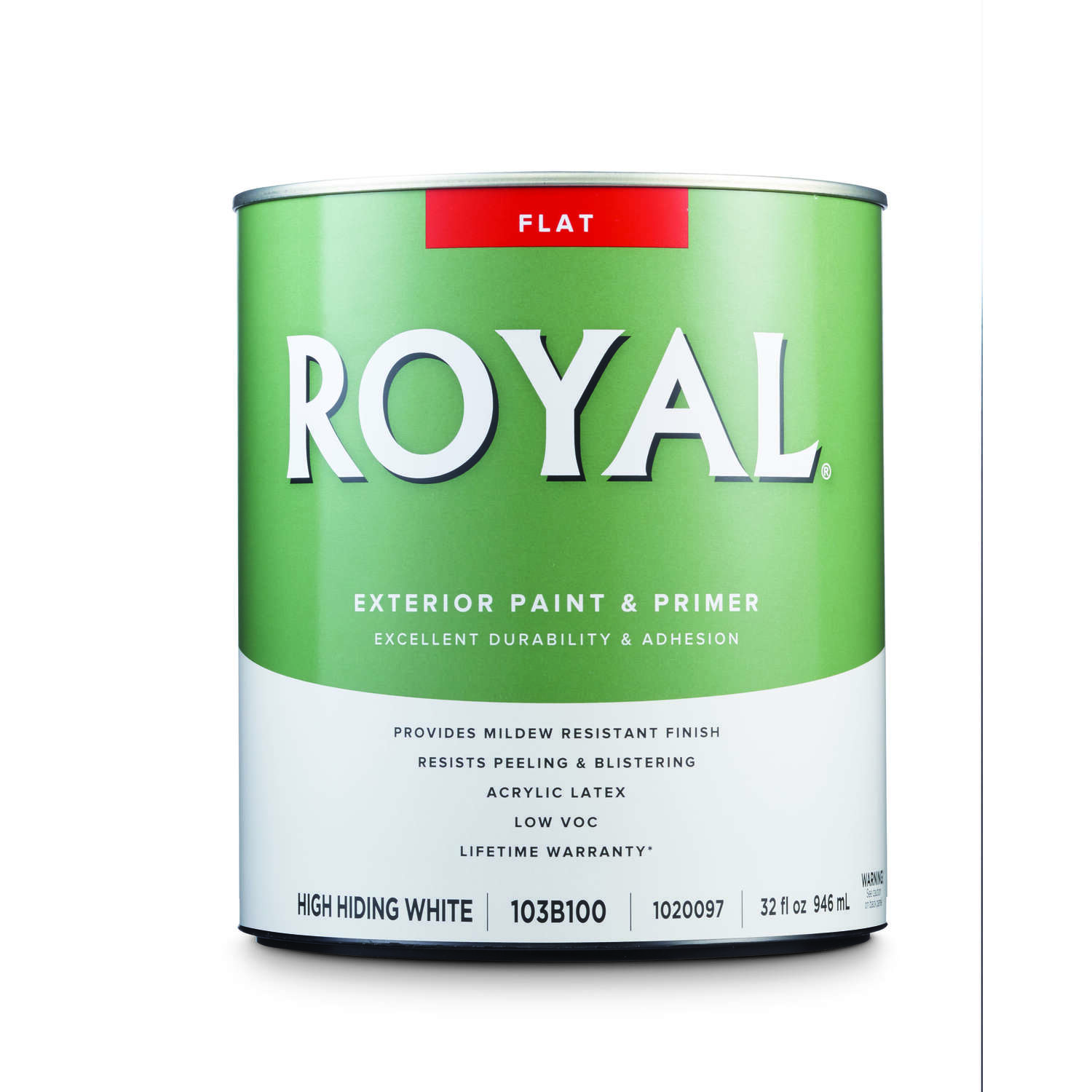 Royal  Flat  High Hiding White  Acrylic Latex  Paint  Outdoor  1 qt.