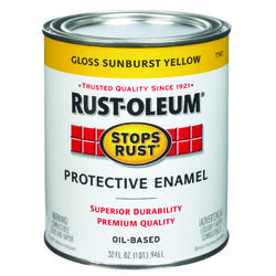Rust-Oleum  Stops Rust  Gloss  Sunburst Yellow  Oil-Based  Exterior and Interior  1 qt. Protective P