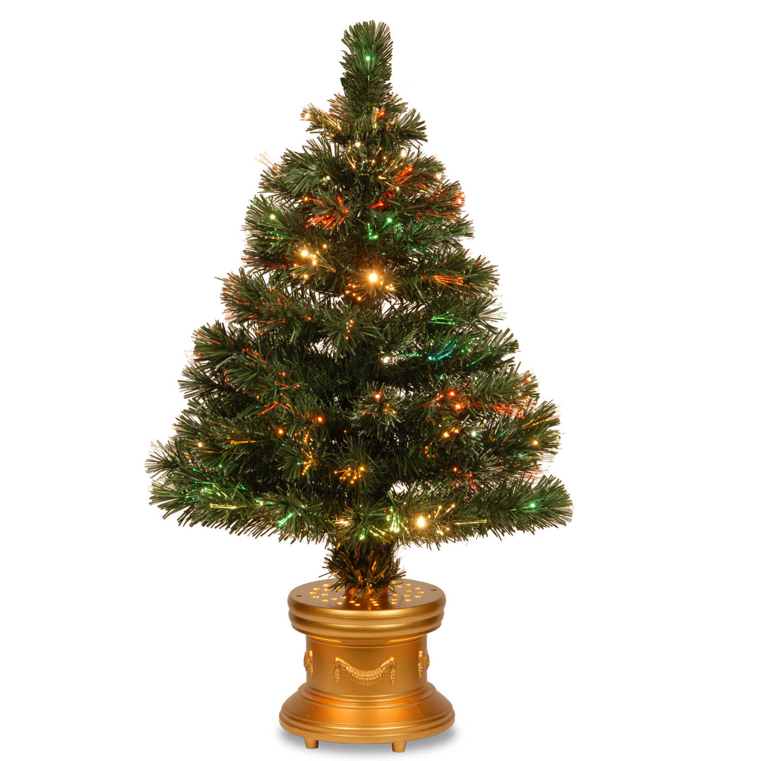 National Tree  LED  Clear  Prelit 3 ft. Fiber Optic  140 tips Artificial Tree