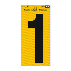 Hy-Ko 5 in. Reflective Black Vinyl Self-Adhesive Number 1 1 pc.
