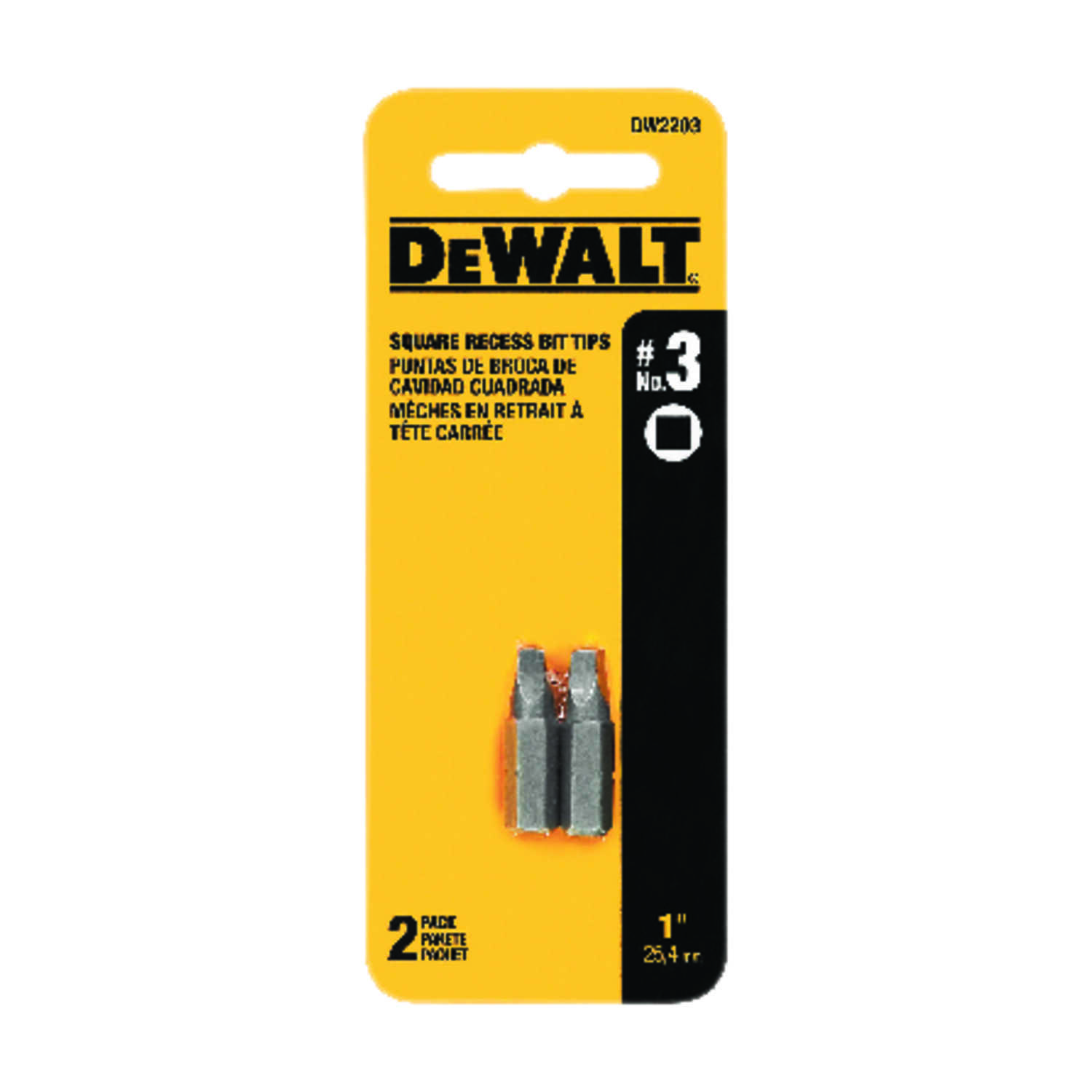 DeWalt  #3 in.  x 1 in. L Screwdriver Bit  1/4 in. Square Recess  2 pc. Heat-Treated Steel