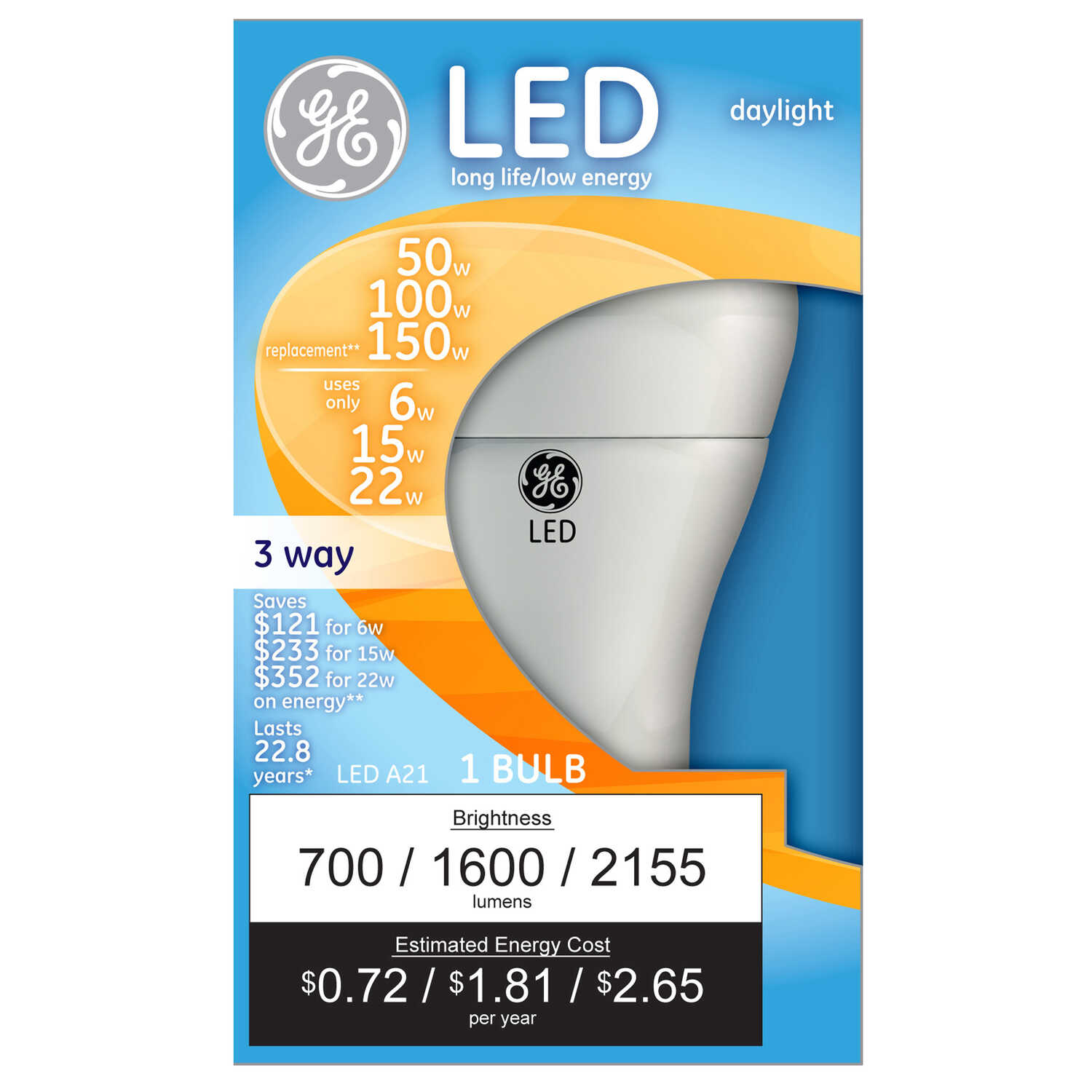 GE Lighting  6/15/22 watts A21  LED Bulb  700/1600/2155 lumens 50/100/150 Watt Equivalence A-Line  D