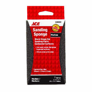 Ace  5 in. L x 1 in.  x 3 in. W 80 Grit Medium  Extra Large  Sanding Sponge
