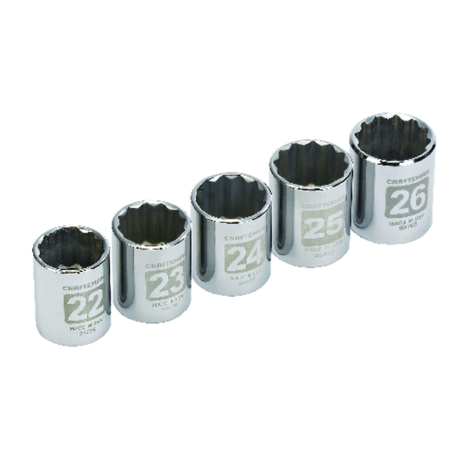 Craftsman  26 mm  x 1/2 in. drive  Metric  12 Point Socket Set  5 pc.