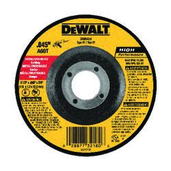DeWalt  High Performance  4-1/2 in. Dia. x 7/8 in. in.  Aluminum Oxide  Cut-Off Wheel  1 pc.