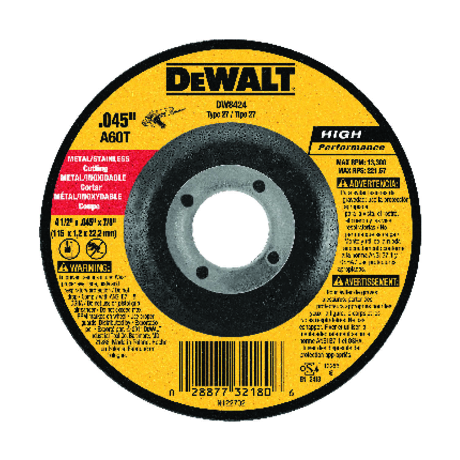 DeWalt  High Performance  Aluminum Oxide  4-1/2 in. .045 in.  x 7/8 in. in.  1 pc. Cut-Off Wheel