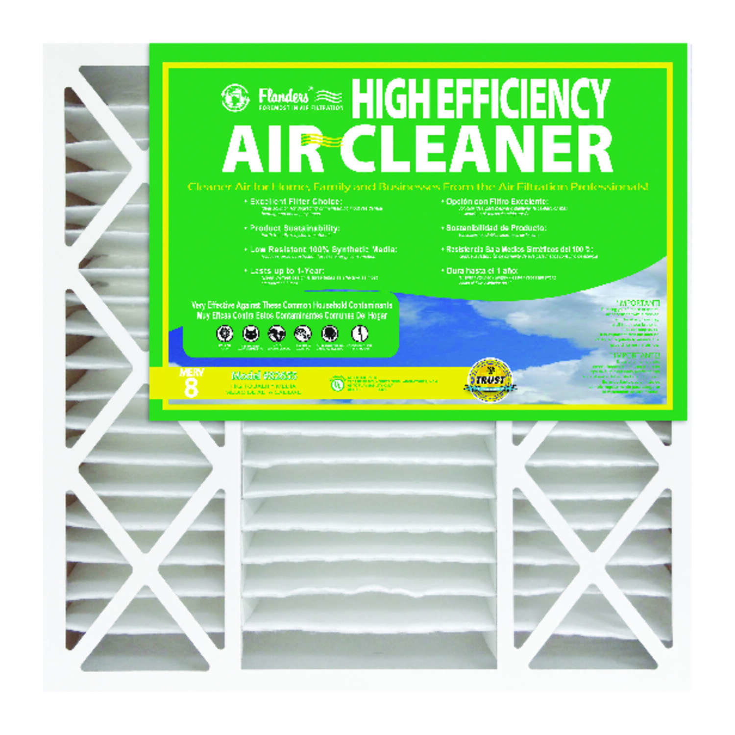 Flanders 16 in. W x 25 in. H x 4-1/2 in. D Polyethylene/Polypropylene 8 MERV Pleated Air Filter