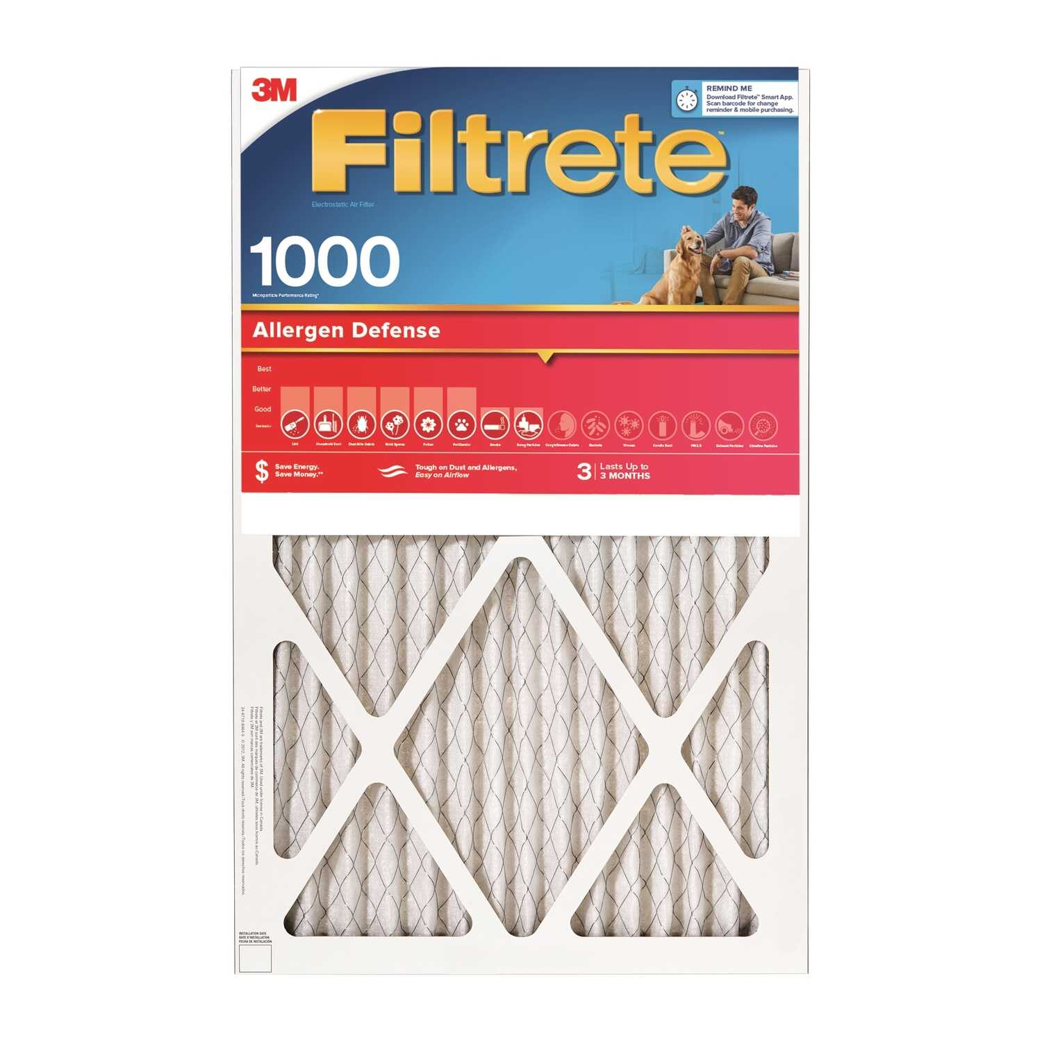 3M  Filtrete  16 in. W x 30 in. H x 1 in. D Air Filter  Pleated