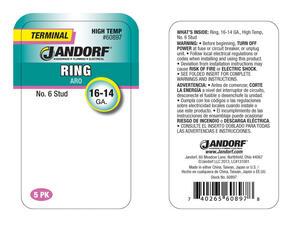 Jandorf  16-14 Ga. Insulated Wire  Terminal Ring  Silver  5 pk