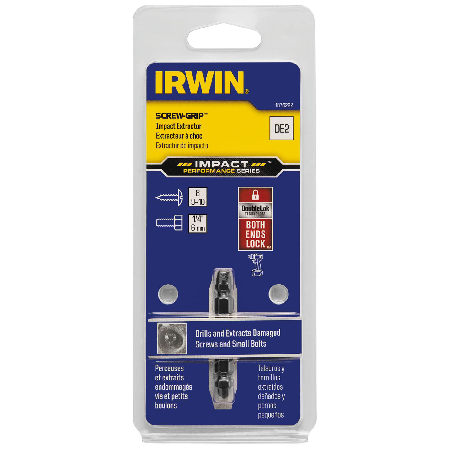 Irwin  Impact SCREW-GRIP  .15 in.  M2 High Speed Steel  Double-Ended Screw Extractor  2 in. 1 pc.