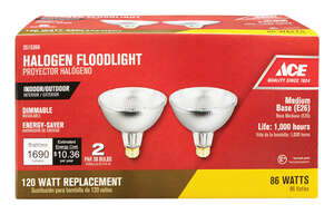 Ace  86 watts PAR38  Halogen Bulb  1690 lumens 2 pk Floodlight  Soft White
