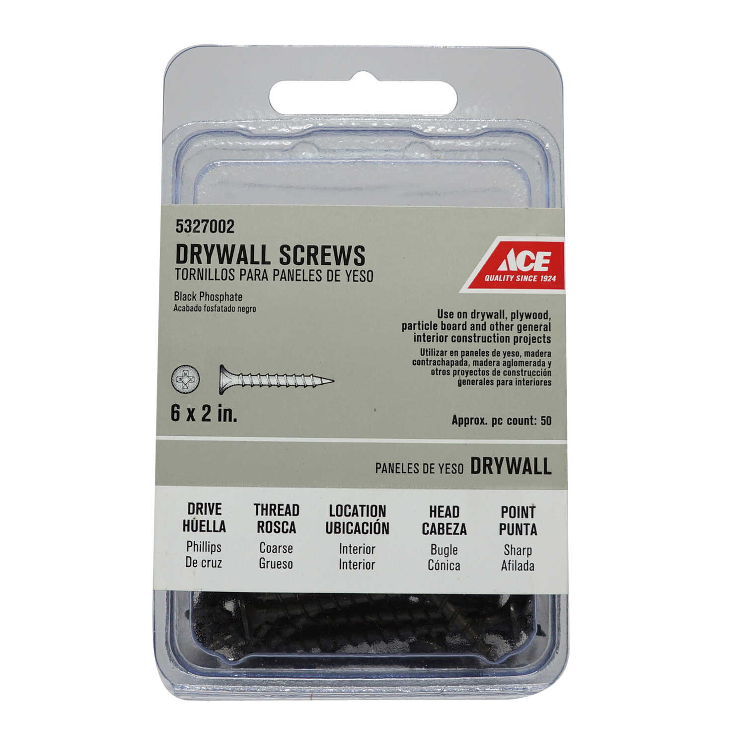 Ace  No. 6   x 2 in. L Phillips  Black Phosphate  Drywall Screws  50 pk