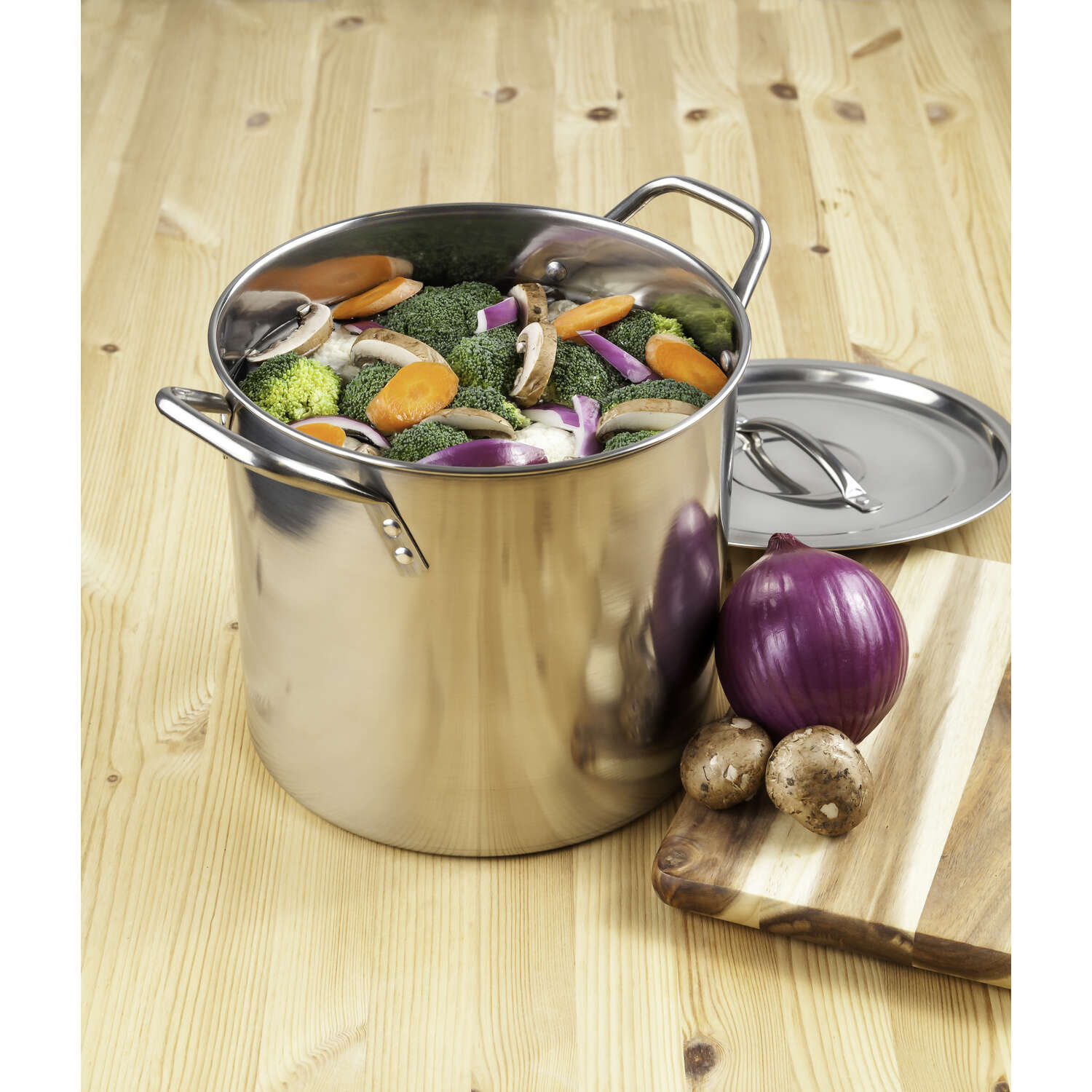 McSunley  Stainless Steel  Stock Pot  10 in. 12 qt. Silver