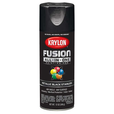 Krylon  Fusion All-In-One  Metallic  Black Stainless  Paint + Primer Spray Paint  12 oz.