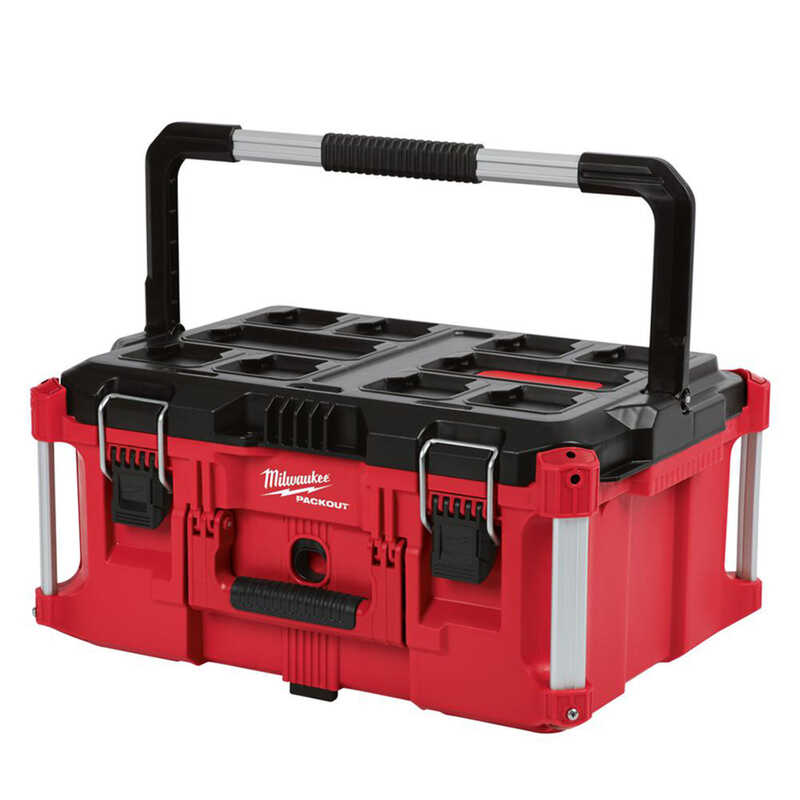 Milwaukee  PACKOUT  16.1 in. Impact-Resistant Poly  Tool Box  16.14 in. W x 11.3 in. H Red  Black/Re