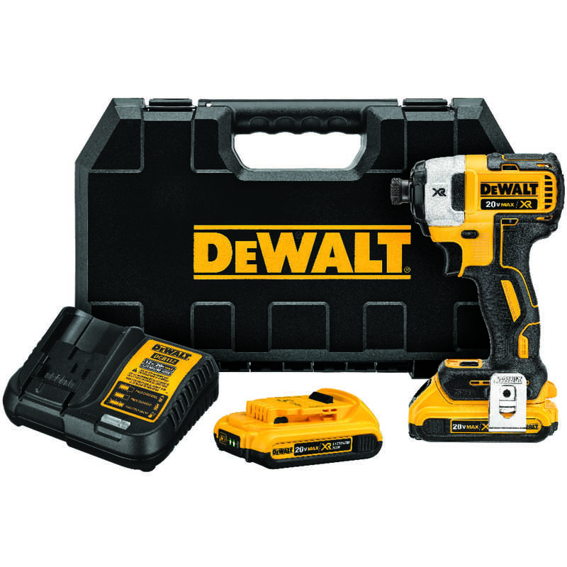 DeWalt  XR  20 volt 1/4 in. Brushless Cordless Compact Drill/Driver  Kit 3600 rpm 3