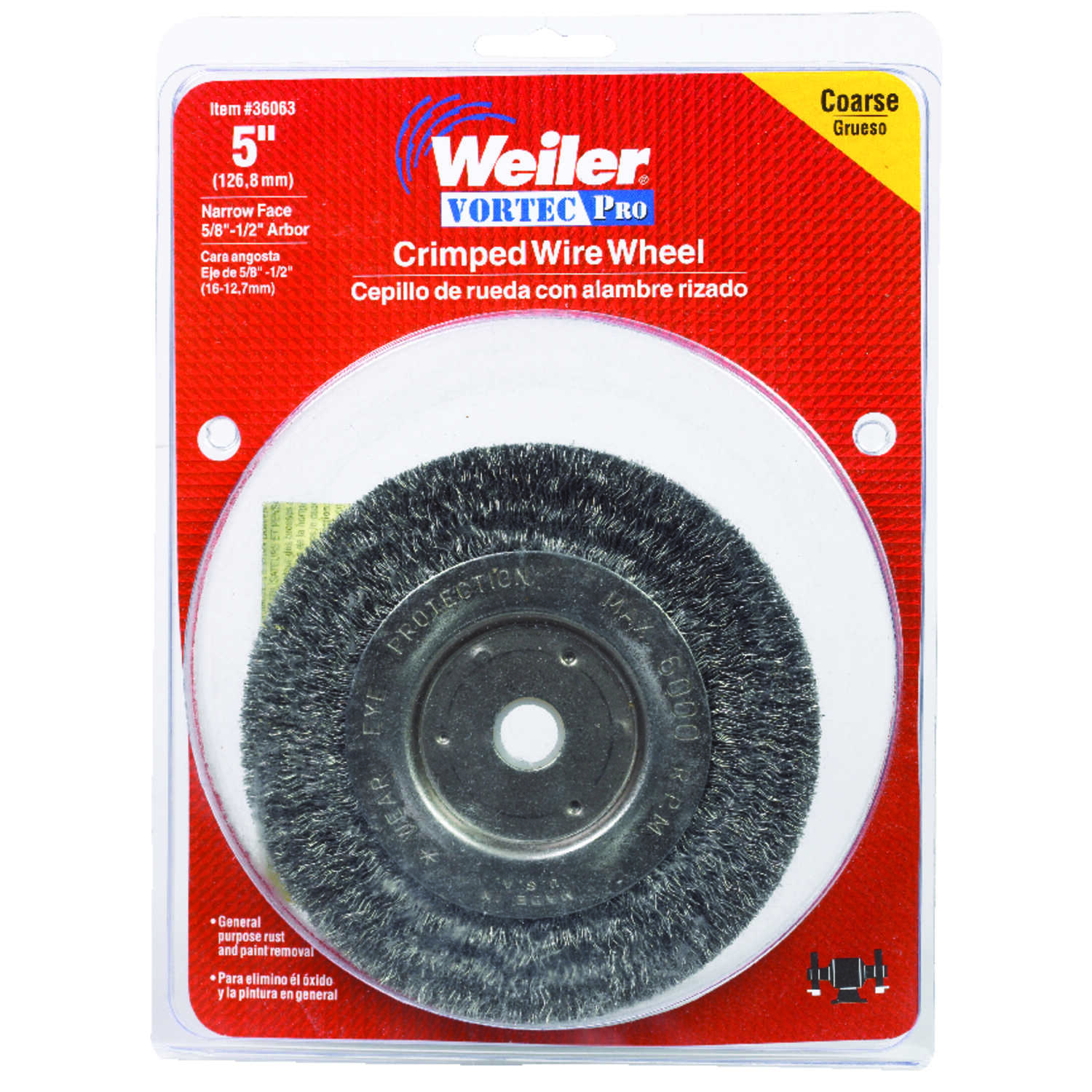 Weiler  Vortec Pro  5 in. Crimped  Wire Wheel Brush  Carbon Steel  6000 rpm 1 pc.