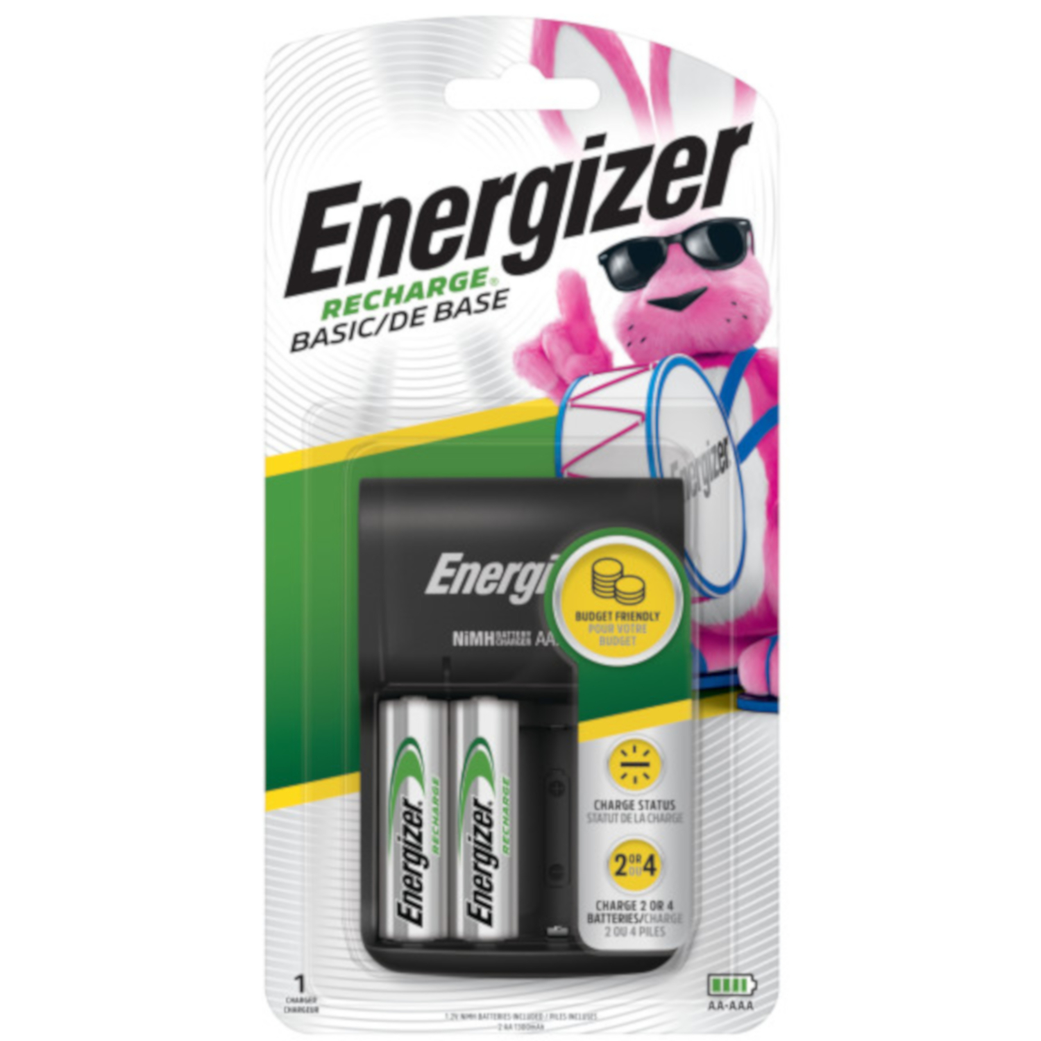 Energizer Rechargable Battery Charger Multiple Size 2 or 4 AA Batteries 2,000 mAh