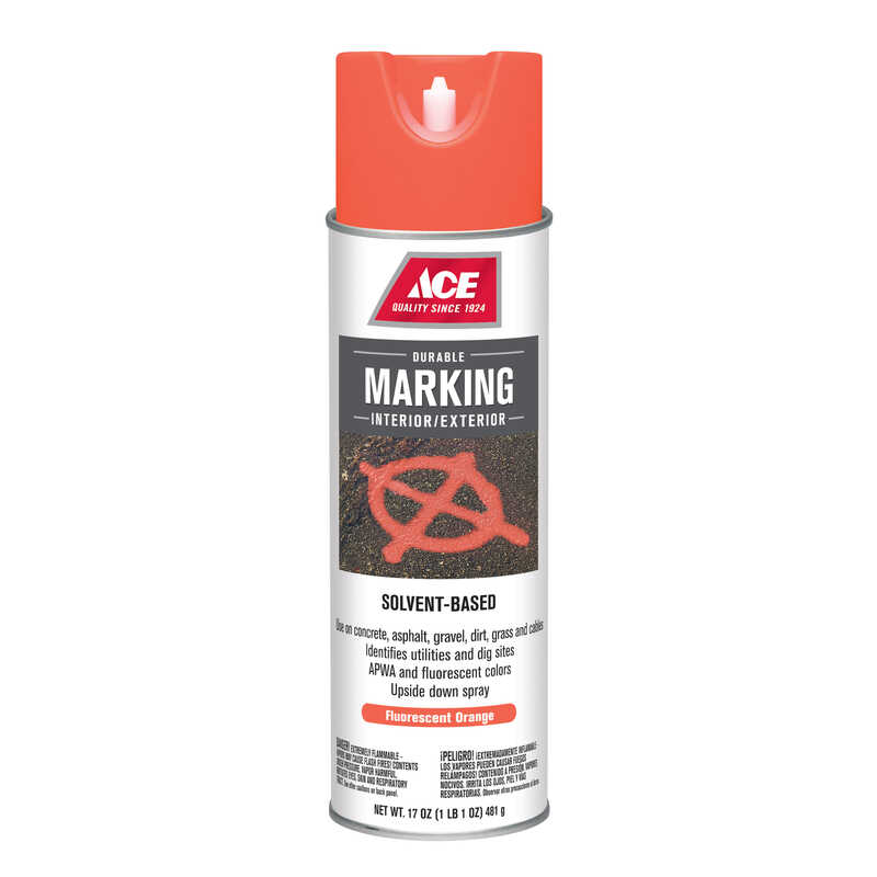 Ace  Solvent-Based  Orange  Field Marking Chalk  17 oz.