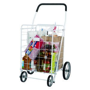 Apex  40-9/16 in. H x 24-7/16 in. W x 21-11/16 in. L White  Collapsible Shopping Cart