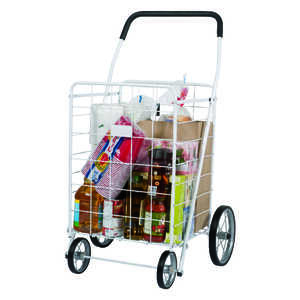 Apex  40-9/16 in. H x 21-11/16 in. L x 24-7/16 in. W Collapsible Shopping Cart  White