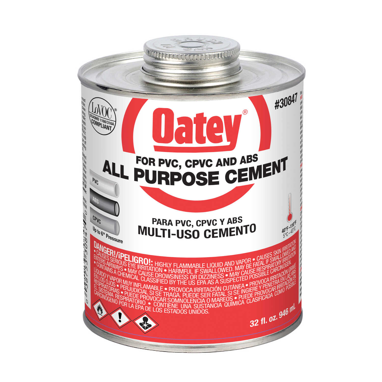 Oatey  All-Purpose Cement  Clear  32 oz. For CPVC/PVC