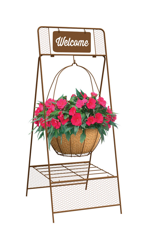 Panacea  Welcome  Brown  Steel  Plant Stand