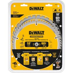 DeWalt 10 in. Dia. x 5/8 in. Carbide Circular Saw Blade 32, 60 teeth 2 pk