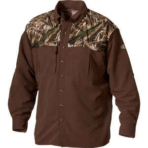 Drake  EST Wingshooter  S  Long Sleeve  Men's  Collared  Brown/Camo  Work Shirt