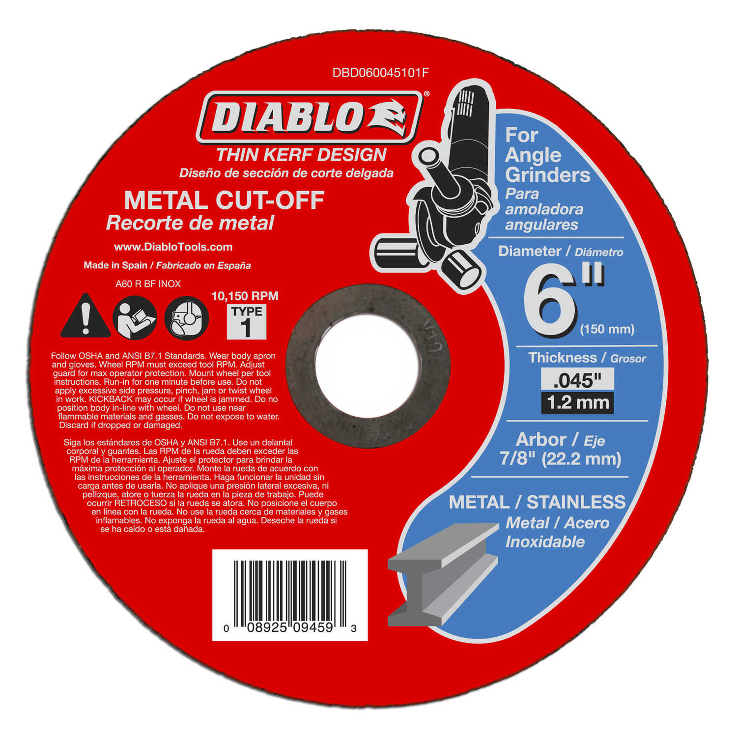 Diablo  6 in. Aluminum Oxide  Metal Cut-Off Wheel  0.045 in.  x 7/8 in.   1 pk