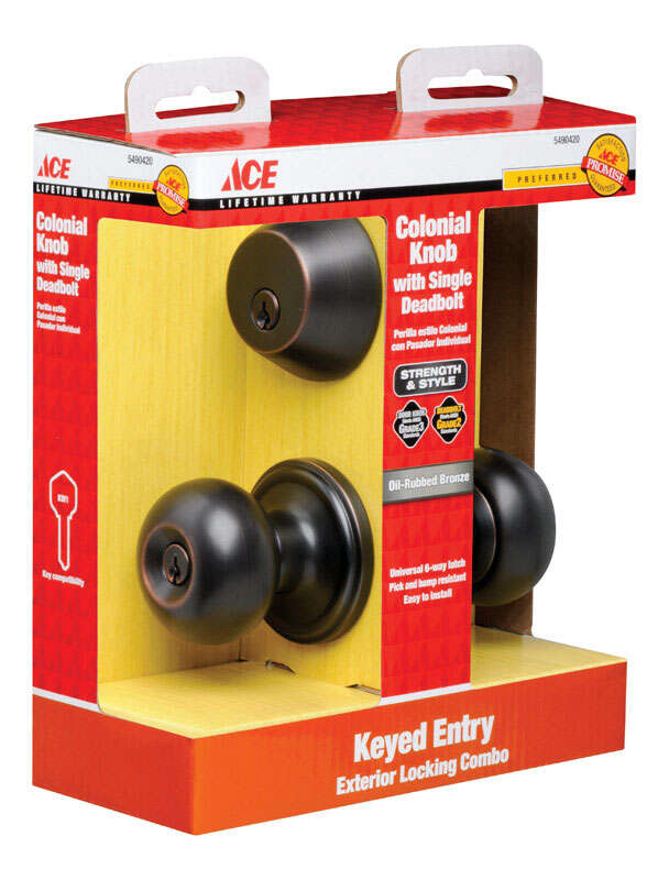 Ace  Colonial  Oil Rubbed Bronze  Steel  Knob and Deadbolt Set  1-3/4 in. ANSI Grade 2