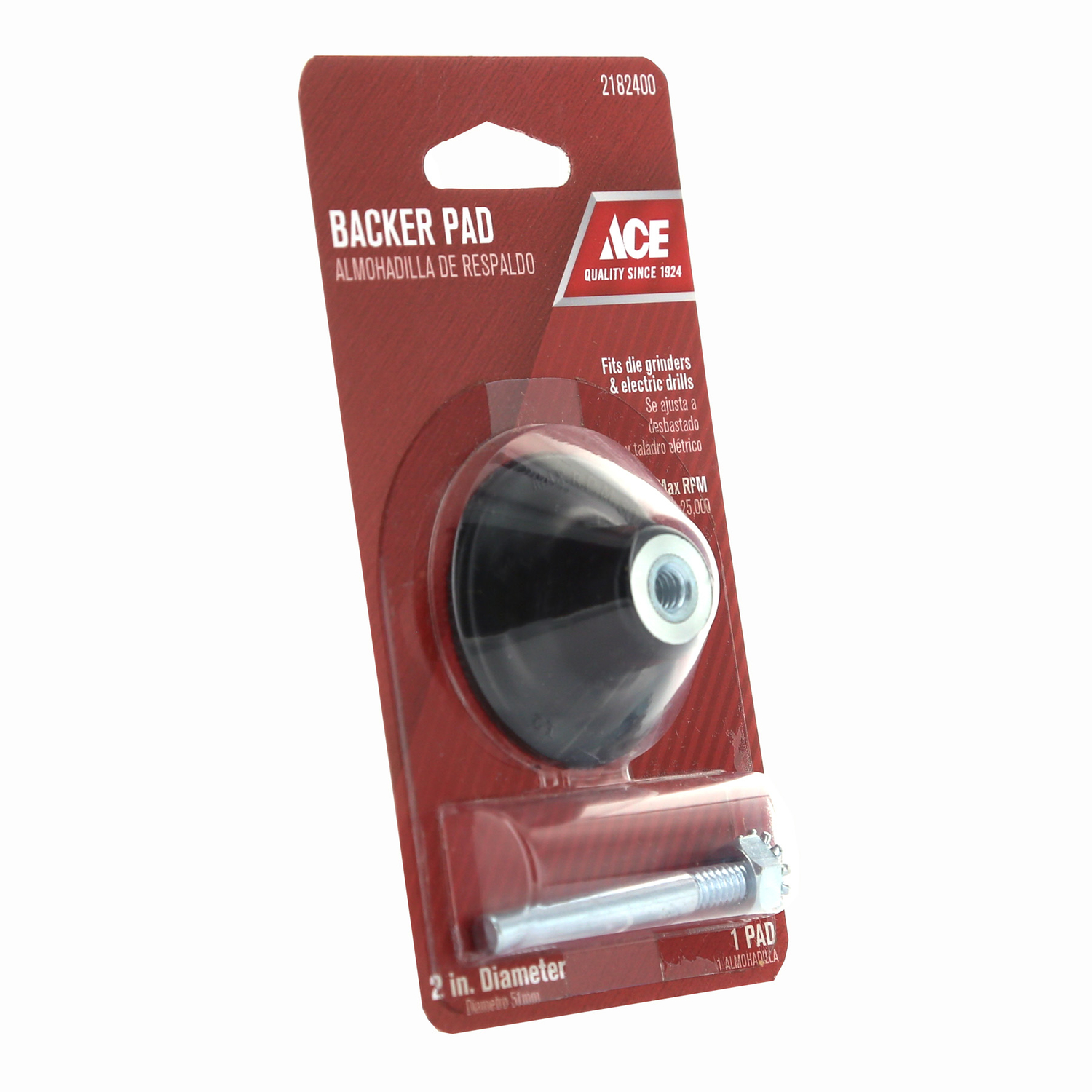 Ace  2 in. Dia. x 1/4 in.   Rubber  Backing Pad  25000 rpm 1 pk