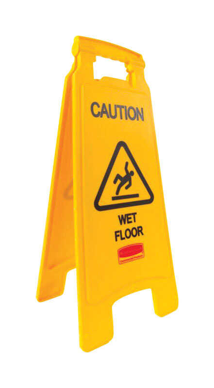 Rubbermaid  English  Caution Wet Floor  Easel Floor Sign  Plastic  22-3/4 in. H x 10-7/8 in. W