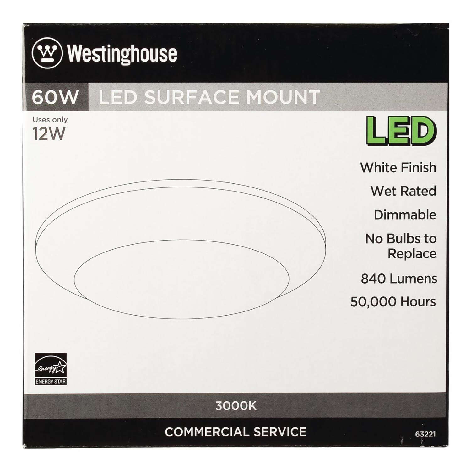 Westinghouse  White  3.875 in. W Steel  LED  Recessed Light Fixture