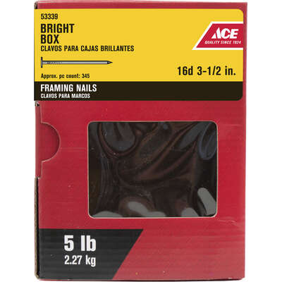 Ace  16D  3-1/2 in. Box  Bright  Steel  Nail  Flat  5 lb.