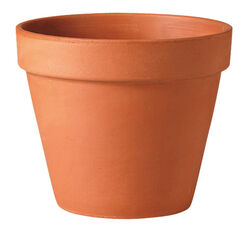 Deroma  10 in. H x 12 in. Dia. Clay  Traditional  Planter  Terracotta